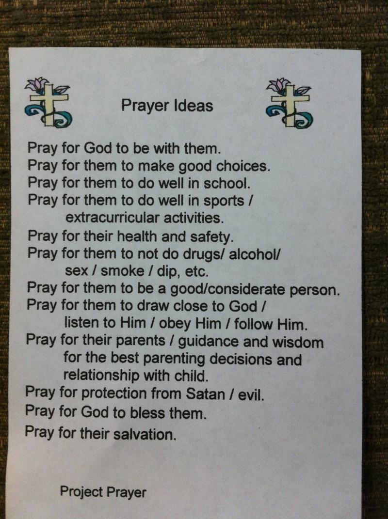 Classroom Prayer Ideas : Project prayer cards